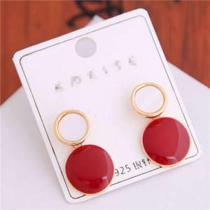 Korean Fashion Oil-spot Glaze Round Dangling Women Alloy Costume Earrings - Red