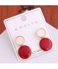 Korean Fashion Oil-spot Glaze Round Dangling Women Alloy Costume Earrings - Red