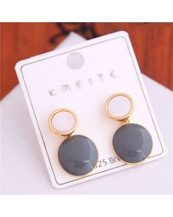 Korean Fashion Oil-spot Glaze Round Dangling Women Alloy Costume Earrings - Gray