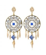 Rhinestone Embellished Hollow Floral Round Dangling with Tassel Design Women Alloy Statement Earrings