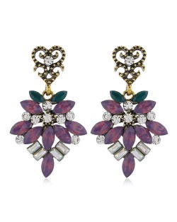 Rhinestone Vintage Flower Pattern Dangling Fashion Women Alloy Earrings