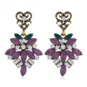 Rhinestone Vintage Flower Pattern Dangling Fashion Women Alloy Earrings