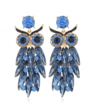Shining Rhinestone Ink Blue Night Owl Design High Fashion Women Alloy Statement Earrings
