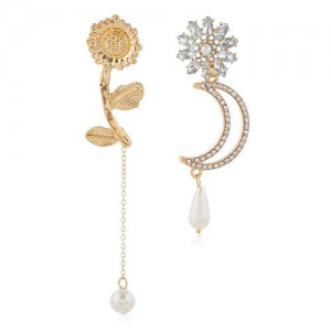 Rhinestone Decorated Flower and Moon Asymmetric Style with Tassel Design Women Alloy Fashion Earrings