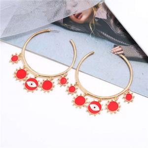 Eye Pendant Hoop High Fashion Women Alloy Earrings - Red