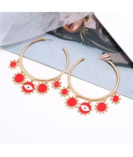 Eye Pendant Hoop High Fashion Women Alloy Earrings - Red