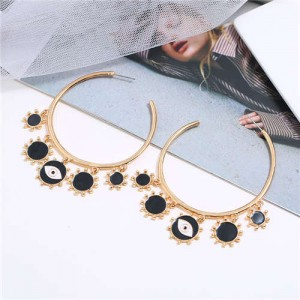 Eye Pendant Hoop High Fashion Women Alloy Earrings - Black