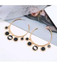 Eye Pendant Hoop High Fashion Women Alloy Earrings - Black