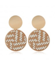 Weaving Pattern Dangling Round Design Unique High Fashion Women Alloy Costume Earrings - Brown