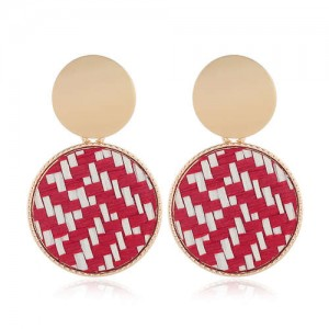 Weaving Pattern Dangling Round Design Unique High Fashion Women Alloy Costume Earrings - Red