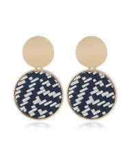 Weaving Pattern Dangling Round Design Unique High Fashion Women Alloy Costume Earrings - Black