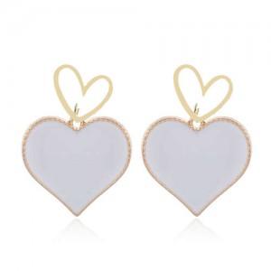 Heart Fashion Western Bold Style Women Fashion Alloy Earrings - White