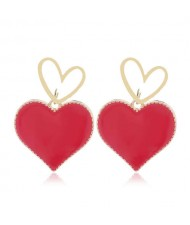 Heart Fashion Western Bold Style Women Fashion Alloy Earrings - Red