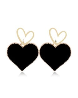 Heart Fashion Western Bold Style Women Fashion Alloy Earrings - Black