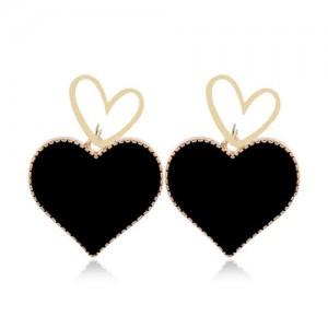 Heart Fashion Western Bold Style Women Fashion Alloy Earrings - Black