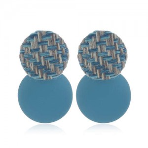 Weaving Round and Round Plate Combo Design High Fashion Women Alloy Earrings - Blue