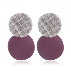 Weaving Round and Round Plate Combo Design High Fashion Women Alloy Earrings - Purple