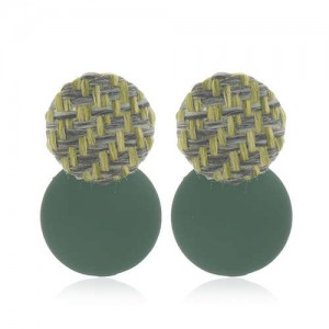 Weaving Round and Round Plate Combo Design High Fashion Women Alloy Earrings - Green