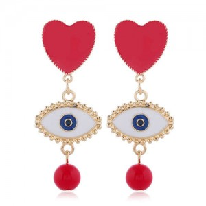 Heart and Eye Combo with Dangling Pearl Design High Fashion Women Statement Earrings - Red