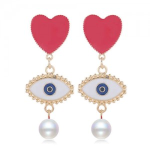 Heart and Eye Combo with Dangling Pearl Design High Fashion Women Statement Earrings - White