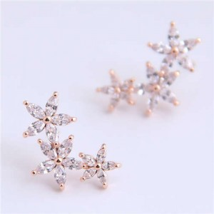 Cubic Zirconia Embellished Glistening Flowers Cluster Design Korean Fashion Copper Earrings - Golden