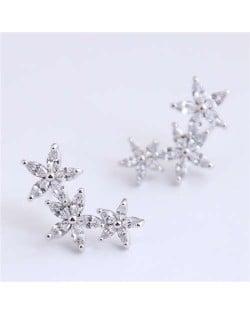 Cubic Zirconia Embellished Glistening Flowers Cluster Design Korean Fashion Copper Earrings - Silver