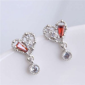 Cubic Zirconia Inlaid Cute Heart Design Sweet Fashion Women Copper Earrings - Silver