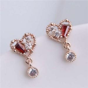 Cubic Zirconia Inlaid Cute Heart Design Sweet Fashion Women Copper Earrings - Golden