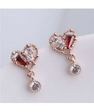 Cubic Zirconia Inlaid Cute Heart Design Sweet Fashion Women Copper Earrings - Golden
