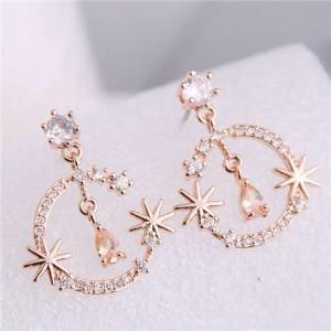 Cubic Zirconia Embellished Shining Floral Moon Dangling Fashion Women Earrings - Rose Gold