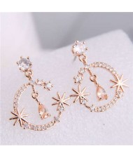 Cubic Zirconia Embellished Shining Floral Moon Dangling Fashion Women Earrings - Rose Gold