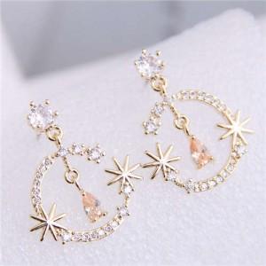 Cubic Zirconia Embellished Shining Floral Moon Dangling Fashion Women Earrings - Golden