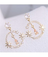 Cubic Zirconia Embellished Shining Floral Moon Dangling Fashion Women Earrings - Golden