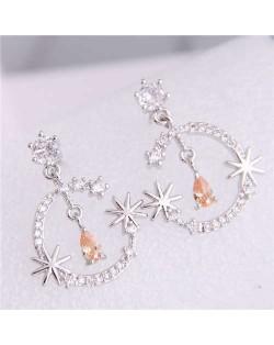 Cubic Zirconia Embellished Shining Floral Moon Dangling Fashion Women Earrings - Silver
