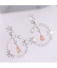 Cubic Zirconia Embellished Shining Floral Moon Dangling Fashion Women Earrings - Silver