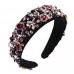 Gorgeous Glass Drilling Flowers Cluster Embellished Shining High Fashion Black Women Hair Hoop
