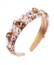 Imitation Pearl and Glass Drill Decorated Pink Cloth High Fashion Women Hair Hoop