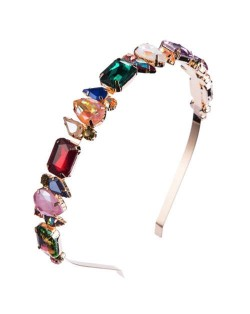 Mixed Colors Gems Embellished Shining High Fashion Women Hair Hoop - Golden