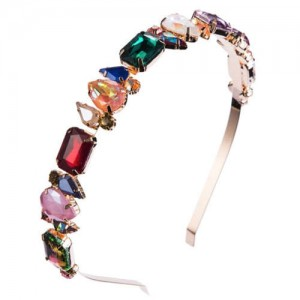 Mixed Colors Gems Embellished Shining High Fashion Women Hair Hoop - Golden