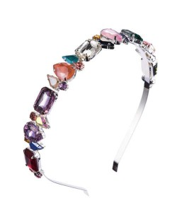 Mixed Colors Gems Embellished Shining High Fashion Women Hair Hoop - Silver