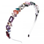Mixed Colors Gems Embellished Shining High Fashion Women Hair Hoop - Silver