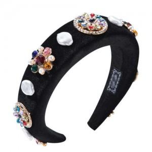 Rhinestone and Artificial Pearl Mix Flowers Embellished Black Velvet Women Hair Hoop