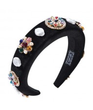 Rhinestone and Artificial Pearl Mix Flowers Embellished Black Velvet Women Hair Hoop