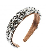 Glistening Rhinestone Embellished Bold High Fashion Cloth Women Hair Hoop