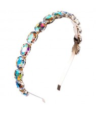 Oval Shape Glass Gem Embellished Glistening Fashion Alloy Women Hair Hoop - Multicolor