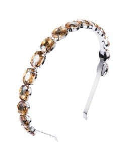 Oval Shape Glass Gem Embellished Glistening Fashion Alloy Women Hair Hoop - Champagne