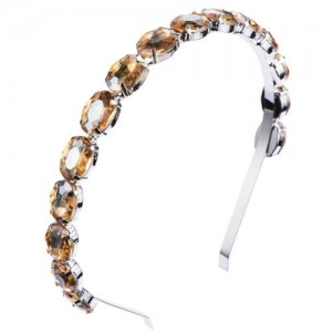 Oval Shape Glass Gem Embellished Glistening Fashion Alloy Women Hair Hoop - Champagne