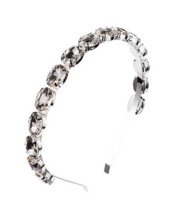 Oval Shape Glass Gem Embellished Glistening Fashion Alloy Women Hair Hoop - Gray
