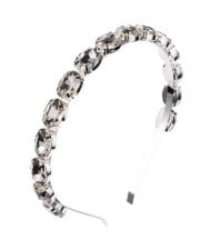 Oval Shape Glass Gem Embellished Glistening Fashion Alloy Women Hair Hoop - Gray