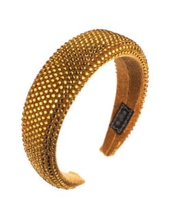 Resin Beads All-over Decorated Solid Color Bold Fashion Women Hair Hoop - Yellow